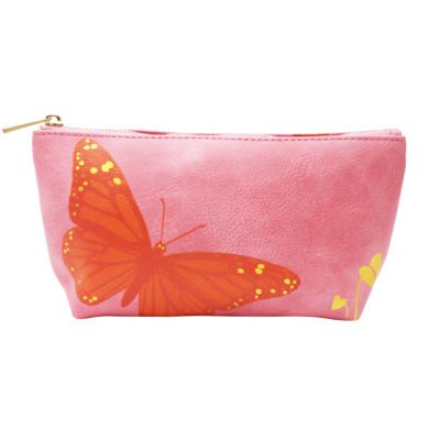 Pink butterfly make-up bag