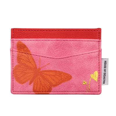 Pink butterfly card holder
