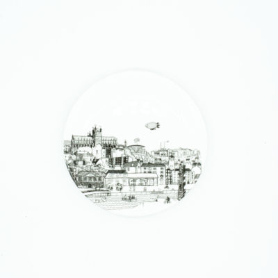 Exeter cityscape china coaster with Cathedral
