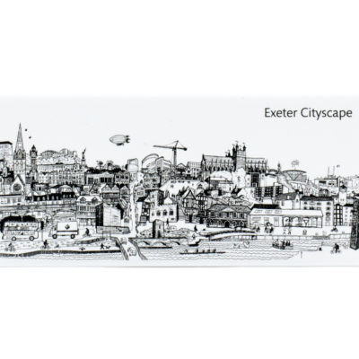 Exeter cityscape panoramic fridge magnet