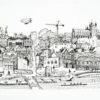 Exeter cityscape tea towel