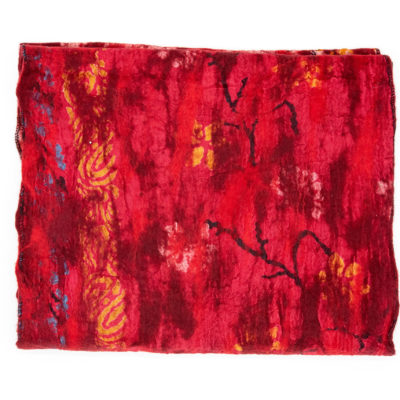 Red felt and silk fairtrade scarf