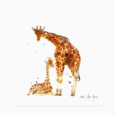 Giraffe mum and baby